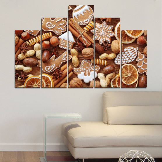 Canvas prints & wall decorative panels - 5 pieces №0259 » Orange, Brown, Gray, Beige » Culinary, Christmas, Pastry Form #5