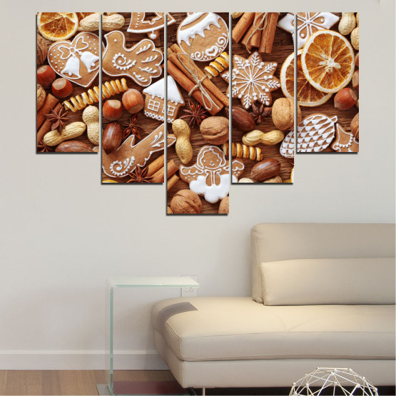 Canvas prints & wall decorative panels - 5 pieces №0259 » Orange, Brown, Gray, Beige » Culinary, Christmas, Pastry Form #6