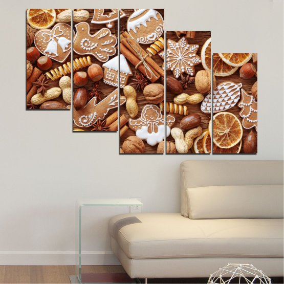 Canvas prints & wall decorative panels - 5 pieces №0259 » Orange, Brown, Gray, Beige » Culinary, Christmas, Pastry Form #7