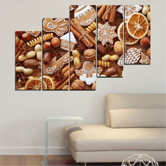 Canvas prints & wall decorative panels - 5 pieces №0259 » Orange, Brown, Gray, Beige » Culinary, Christmas, Pastry Form #8