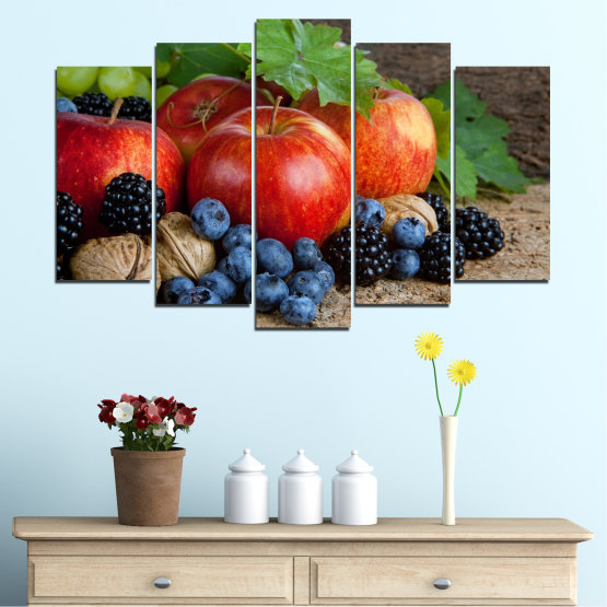 Canvas prints & wall decorative panels - 5 pieces №0026 » Green, Brown, Black, Gray, Dark grey » Culinary, Still life, Fruits, Fresh Form #1