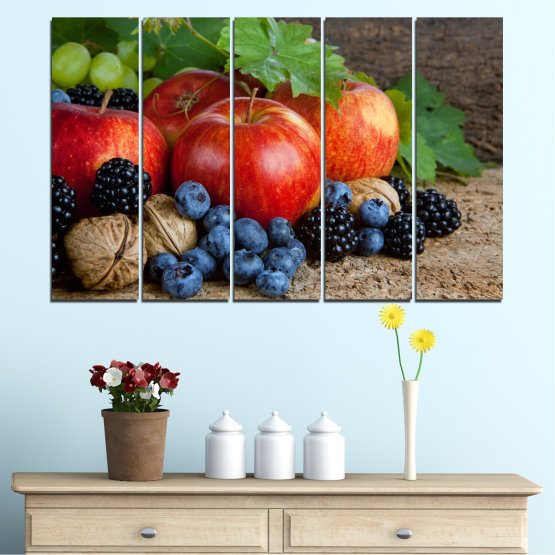 Canvas prints & wall decorative panels - 5 pieces №0026 » Green, Brown, Black, Gray, Dark grey » Culinary, Still life, Fruits, Fresh Form #2