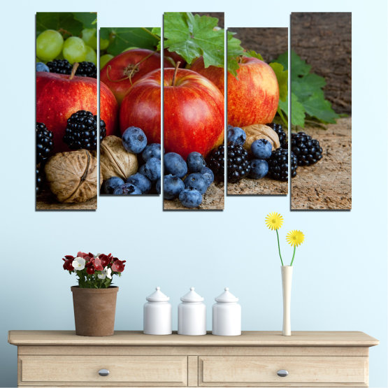 Canvas prints & wall decorative panels - 5 pieces №0026 » Green, Brown, Black, Gray, Dark grey » Culinary, Still life, Fruits, Fresh Form #3