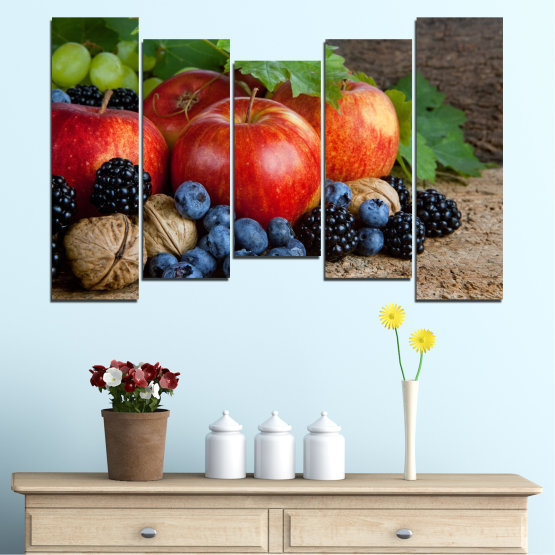 Canvas prints & wall decorative panels - 5 pieces №0026 » Green, Brown, Black, Gray, Dark grey » Culinary, Still life, Fruits, Fresh Form #4