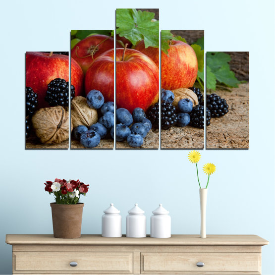Canvas prints & wall decorative panels - 5 pieces №0026 » Green, Brown, Black, Gray, Dark grey » Culinary, Still life, Fruits, Fresh Form #5