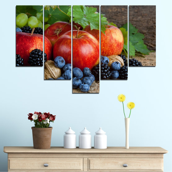 Canvas prints & wall decorative panels - 5 pieces №0026 » Green, Brown, Black, Gray, Dark grey » Culinary, Still life, Fruits, Fresh Form #6