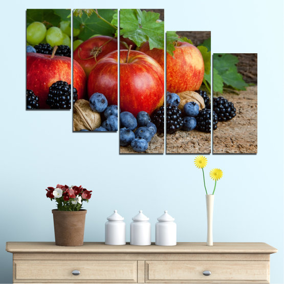 Canvas prints & wall decorative panels - 5 pieces №0026 » Green, Brown, Black, Gray, Dark grey » Culinary, Still life, Fruits, Fresh Form #7
