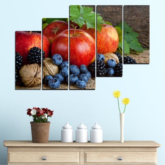 Canvas prints & wall decorative panels - 5 pieces №0026 » Green, Brown, Black, Gray, Dark grey » Culinary, Still life, Fruits, Fresh Form #8