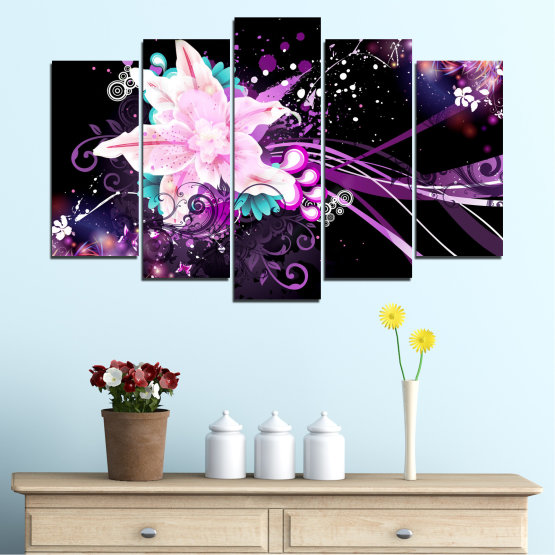 Canvas prints & wall decorative panels - 5 pieces №0260 » Purple, Black, White, Milky pink, Dark grey » Flowers, Abstraction, Collage Form #1
