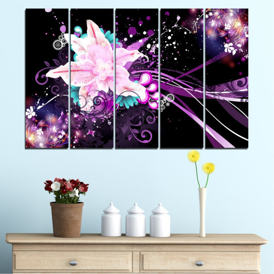 Canvas prints & wall decorative panels - 5 pieces №0260 » Purple, Black, White, Milky pink, Dark grey » Flowers, Abstraction, Collage Form #2