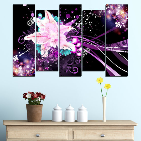 Canvas prints & wall decorative panels - 5 pieces №0260 » Purple, Black, White, Milky pink, Dark grey » Flowers, Abstraction, Collage Form #3