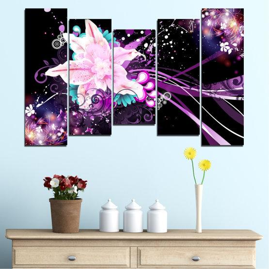 Εκτύπωση σε καμβά και διακοσμητικά πάνελ τοίχου - 5 τεμάχια №0260 » Μωβ, Μαύρος, Άσπρο, Γαλακτώδες ροζ, Σκούρο γκρι » Αφαίρεση, Λουλούδια, Κολάζ Form #4