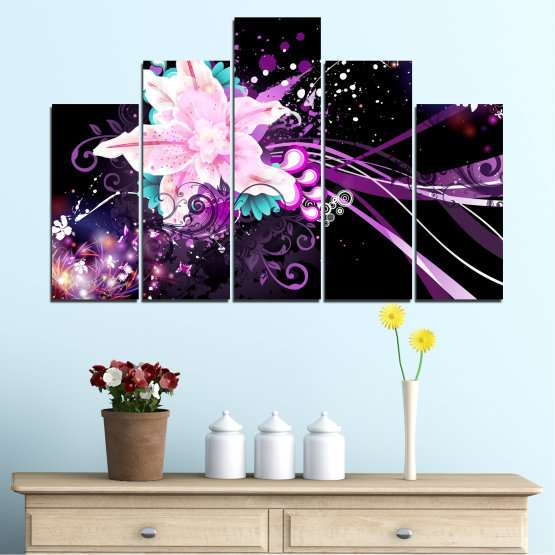 Canvas prints & wall decorative panels - 5 pieces №0260 » Purple, Black, White, Milky pink, Dark grey » Flowers, Abstraction, Collage Form #5