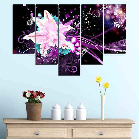 Canvas prints & wall decorative panels - 5 pieces №0260 » Purple, Black, White, Milky pink, Dark grey » Flowers, Abstraction, Collage Form #6