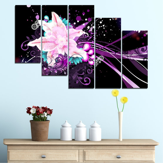 Canvas prints & wall decorative panels - 5 pieces №0260 » Purple, Black, White, Milky pink, Dark grey » Flowers, Abstraction, Collage Form #7