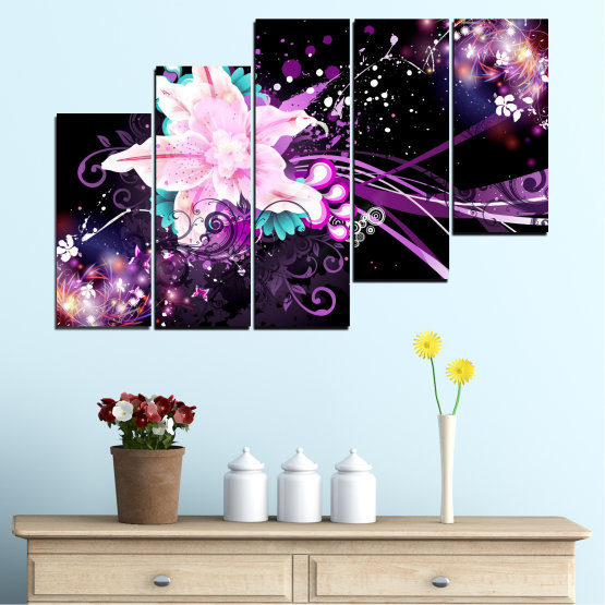 Canvas prints & wall decorative panels - 5 pieces №0260 » Purple, Black, White, Milky pink, Dark grey » Flowers, Abstraction, Collage Form #8