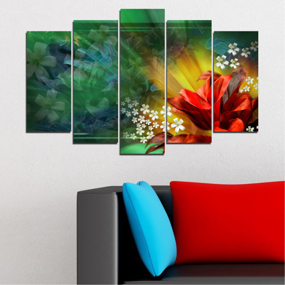 Canvas prints & wall decorative panels - 5 pieces №0261 » Red, Green, Brown, Black, Dark grey » Flowers, Abstraction, Collage Form #1
