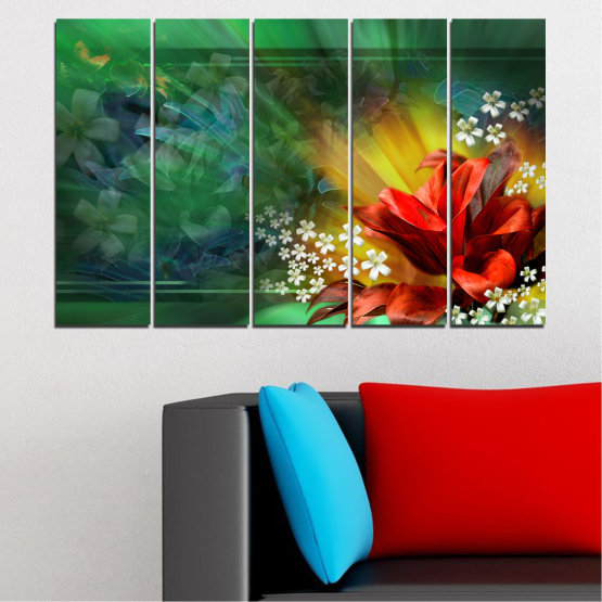 Canvas prints & wall decorative panels - 5 pieces №0261 » Red, Green, Brown, Black, Dark grey » Flowers, Abstraction, Collage Form #2