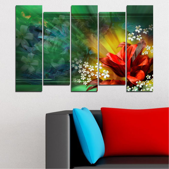 Canvas prints & wall decorative panels - 5 pieces №0261 » Red, Green, Brown, Black, Dark grey » Flowers, Abstraction, Collage Form #3