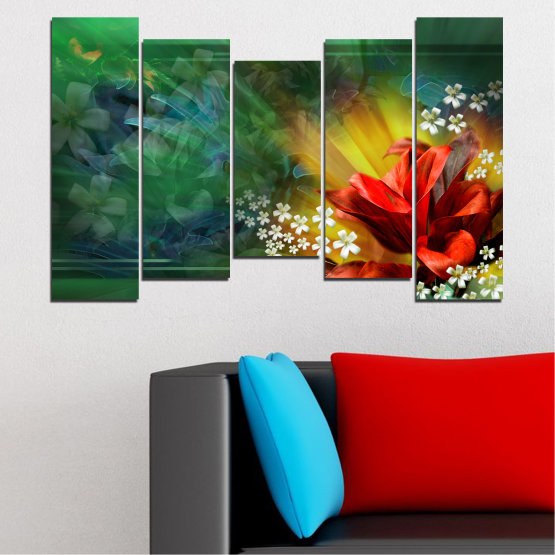Canvas prints & wall decorative panels - 5 pieces №0261 » Red, Green, Brown, Black, Dark grey » Flowers, Abstraction, Collage Form #4