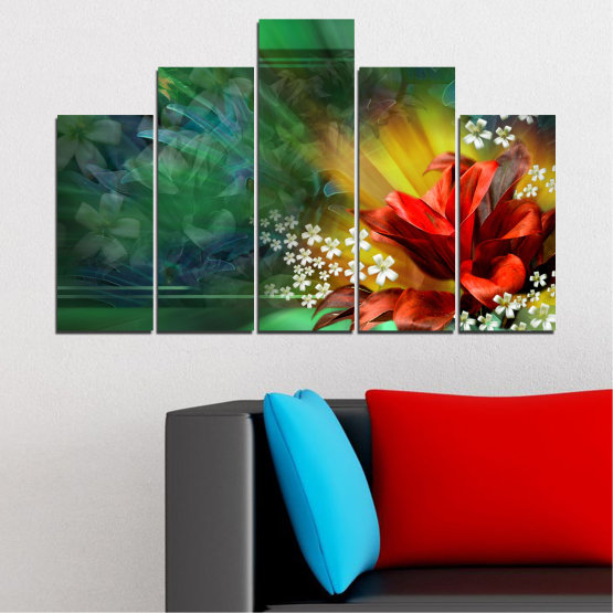 Canvas prints & wall decorative panels - 5 pieces №0261 » Red, Green, Brown, Black, Dark grey » Flowers, Abstraction, Collage Form #5
