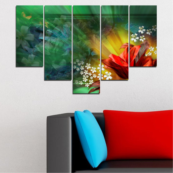 Canvas prints & wall decorative panels - 5 pieces №0261 » Red, Green, Brown, Black, Dark grey » Flowers, Abstraction, Collage Form #6