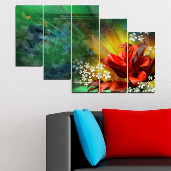 Canvas prints & wall decorative panels - 5 pieces №0261 » Red, Green, Brown, Black, Dark grey » Flowers, Abstraction, Collage Form #7