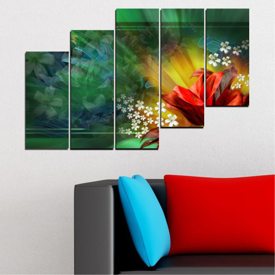 Canvas prints & wall decorative panels - 5 pieces №0261 » Red, Green, Brown, Black, Dark grey » Flowers, Abstraction, Collage Form #8
