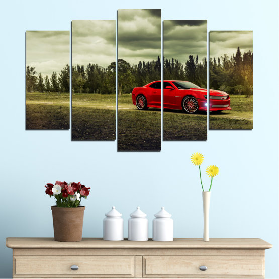 Canvas prints & wall decorative panels - 5 pieces №0263 » Brown, Black, Gray, Beige, Dark grey » Forest, Car, Vehicle, Cloud, Road Form #1