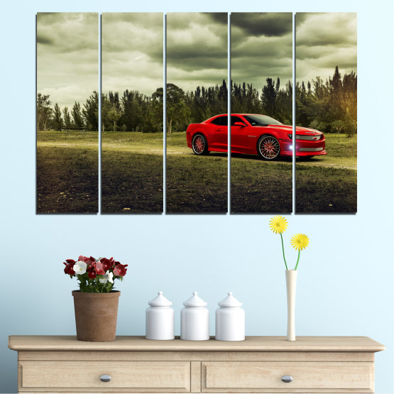 Canvas prints & wall decorative panels - 5 pieces №0263 » Brown, Black, Gray, Beige, Dark grey » Forest, Car, Vehicle, Cloud, Road Form #2