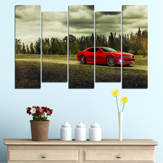 Canvas prints & wall decorative panels - 5 pieces №0263 » Brown, Black, Gray, Beige, Dark grey » Forest, Car, Vehicle, Cloud, Road Form #3
