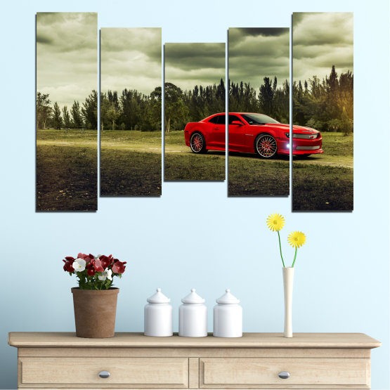 Canvas prints & wall decorative panels - 5 pieces №0263 » Brown, Black, Gray, Beige, Dark grey » Forest, Car, Vehicle, Cloud, Road Form #4