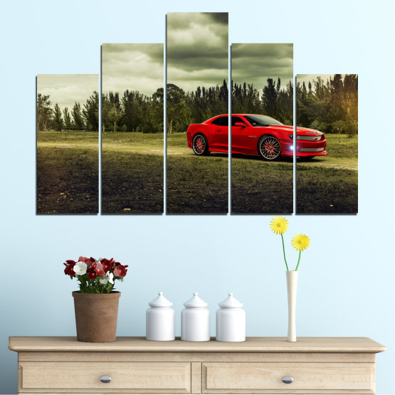 Canvas prints & wall decorative panels - 5 pieces №0263 » Brown, Black, Gray, Beige, Dark grey » Forest, Car, Vehicle, Cloud, Road Form #5
