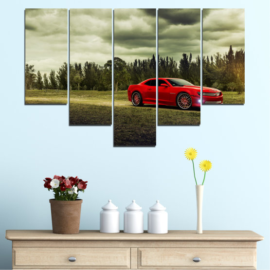 Canvas prints & wall decorative panels - 5 pieces №0263 » Brown, Black, Gray, Beige, Dark grey » Forest, Car, Vehicle, Cloud, Road Form #6