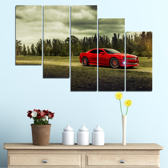 Canvas prints & wall decorative panels - 5 pieces №0263 » Brown, Black, Gray, Beige, Dark grey » Forest, Car, Vehicle, Cloud, Road Form #7