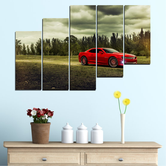 Canvas prints & wall decorative panels - 5 pieces №0263 » Brown, Black, Gray, Beige, Dark grey » Forest, Car, Vehicle, Cloud, Road Form #8
