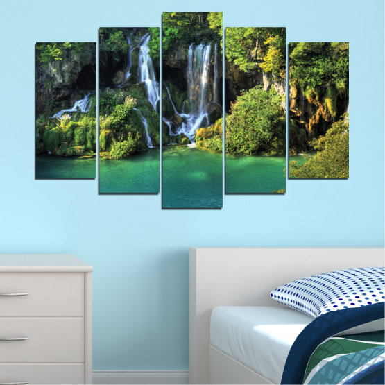 Canvas prints & wall decorative panels - 5 pieces №0264 » Green, Brown, Black, Dark grey » Nature, Landscape, Waterfall, Water, River Form #1