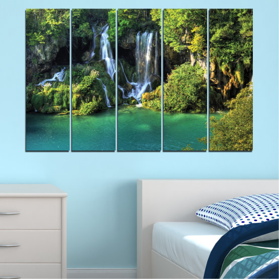 Canvas prints & wall decorative panels - 5 pieces №0264 » Green, Brown, Black, Dark grey » Nature, Landscape, Waterfall, Water, River Form #2