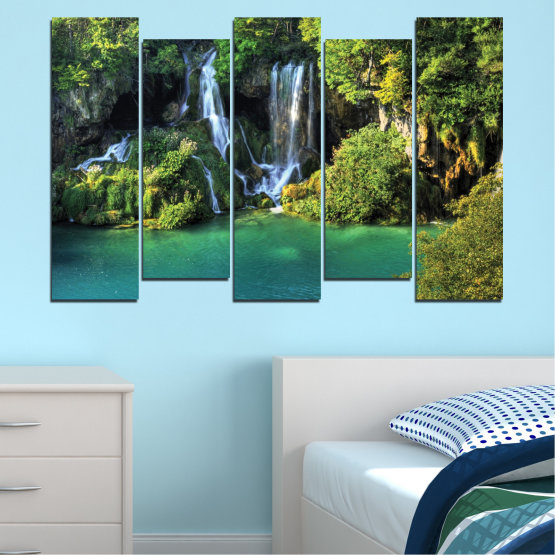 Canvas prints & wall decorative panels - 5 pieces №0264 » Green, Brown, Black, Dark grey » Nature, Landscape, Waterfall, Water, River Form #3