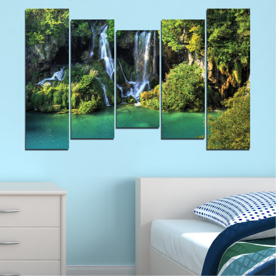 Canvas prints & wall decorative panels - 5 pieces №0264 » Green, Brown, Black, Dark grey » Nature, Landscape, Waterfall, Water, River Form #4