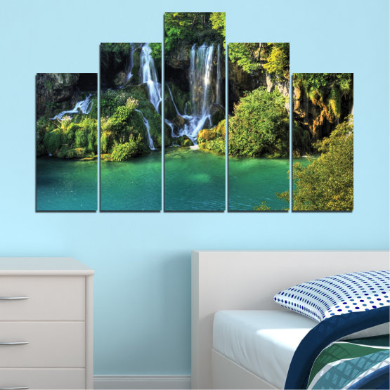 Canvas prints & wall decorative panels - 5 pieces №0264 » Green, Brown, Black, Dark grey » Nature, Landscape, Waterfall, Water, River Form #5
