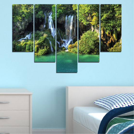 Canvas prints & wall decorative panels - 5 pieces №0264 » Green, Brown, Black, Dark grey » Nature, Landscape, Waterfall, Water, River Form #6