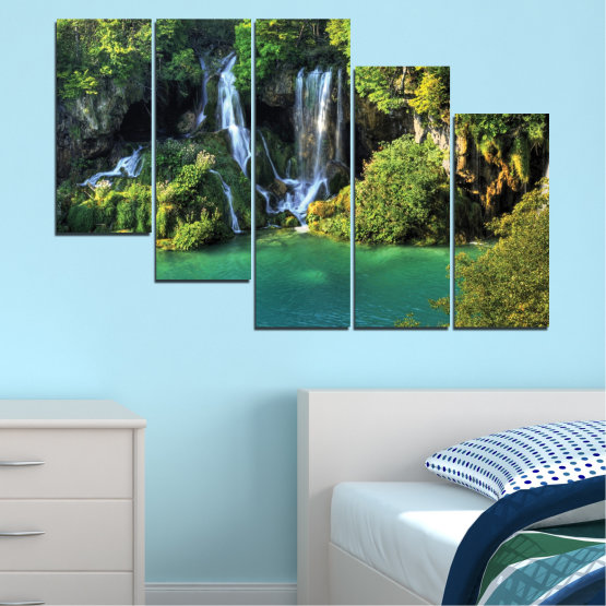 Canvas prints & wall decorative panels - 5 pieces №0264 » Green, Brown, Black, Dark grey » Nature, Landscape, Waterfall, Water, River Form #7