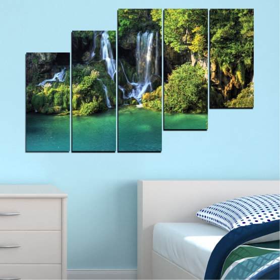 Canvas prints & wall decorative panels - 5 pieces №0264 » Green, Brown, Black, Dark grey » Nature, Landscape, Waterfall, Water, River Form #8