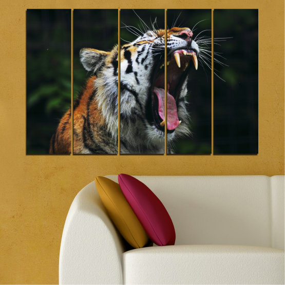 Canvas prints & wall decorative panels - 5 pieces №0265 » Brown, Black, Gray, Dark grey » Animal, Portrait, Tiger Form #2