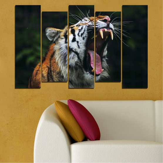 Canvas prints & wall decorative panels - 5 pieces №0265 » Brown, Black, Gray, Dark grey » Animal, Portrait, Tiger Form #3