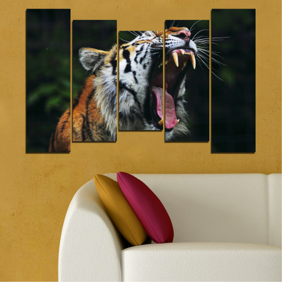Canvas prints & wall decorative panels - 5 pieces №0265 » Brown, Black, Gray, Dark grey » Animal, Portrait, Tiger Form #4