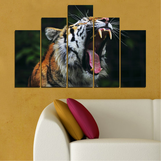 Canvas prints & wall decorative panels - 5 pieces №0265 » Brown, Black, Gray, Dark grey » Animal, Portrait, Tiger Form #5