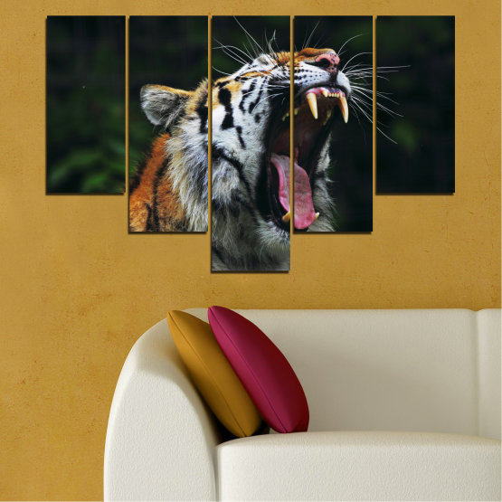 Canvas prints & wall decorative panels - 5 pieces №0265 » Brown, Black, Gray, Dark grey » Animal, Portrait, Tiger Form #6
