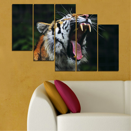 Canvas prints & wall decorative panels - 5 pieces №0265 » Brown, Black, Gray, Dark grey » Animal, Portrait, Tiger Form #7